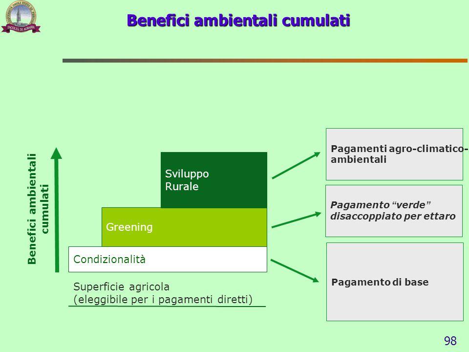 Superficie agricola (eleggibile per i pagamenti diretti) Condizionalità Greening Sviluppo Rurale Benefici ambientali cumulati Pagamento di base Pagame