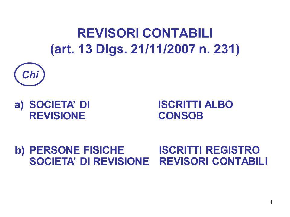 1 REVISORI CONTABILI (art. 13 Dlgs. 21/11/2007 n.