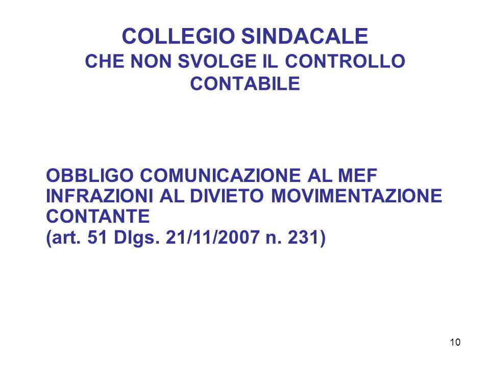 10 COLLEGIO SINDACALE CHE NON SVOLGE IL CONTROLLO CONTABILE OBBLIGO COMUNICAZIONE AL MEF INFRAZIONI AL DIVIETO MOVIMENTAZIONE CONTANTE (art.