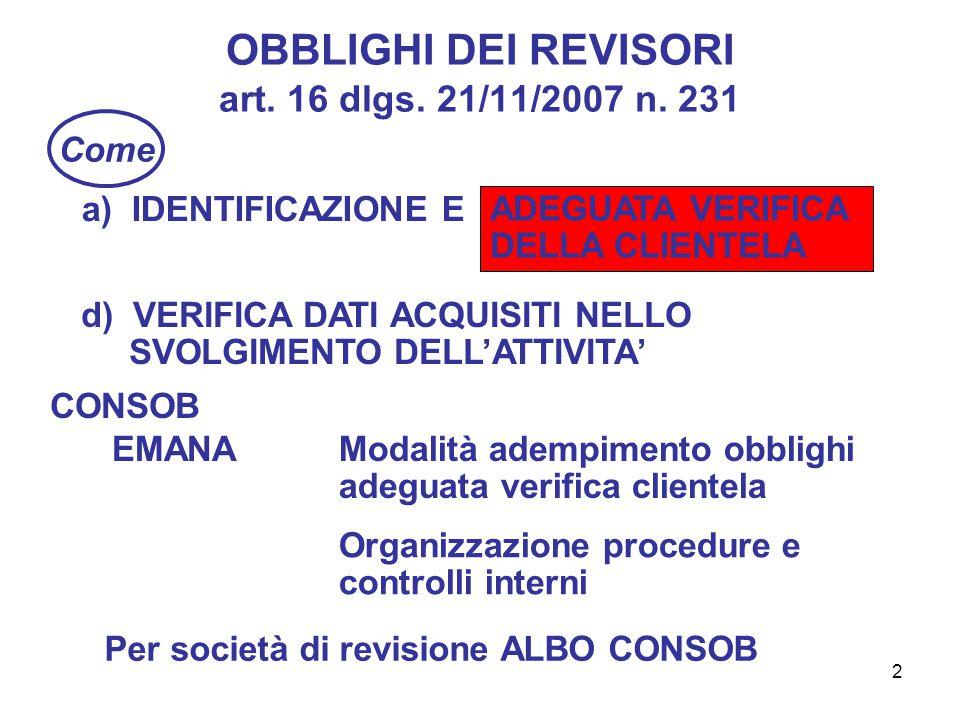 2 OBBLIGHI DEI REVISORI art. 16 dlgs. 21/11/2007 n.