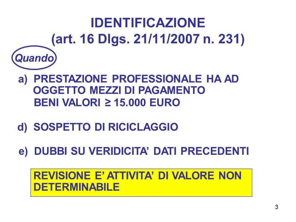 3 IDENTIFICAZIONE (art. 16 Dlgs. 21/11/2007 n.