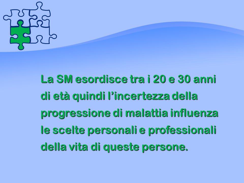 La SM esordisce tra i 20 e 30 anni di età quindi l'incertezza della progressione di malattia influenza le scelte personali e professionali della vita di queste persone.