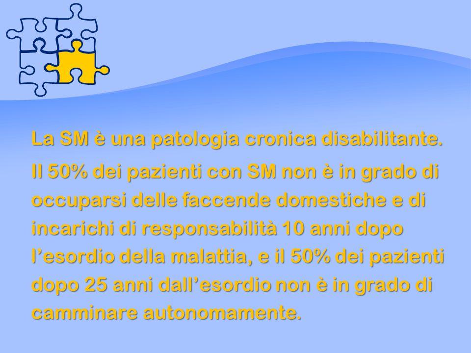 La SM è una patologia cronica disabilitante.