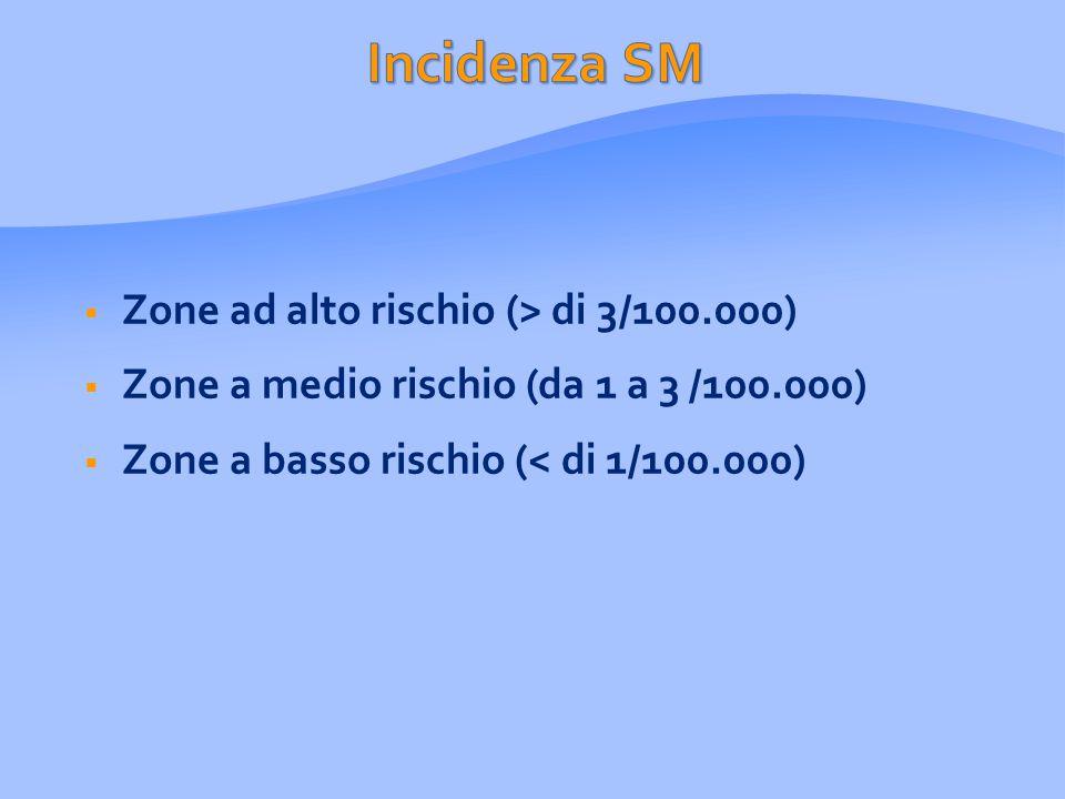  Zone ad alto rischio (> di 3/100.000)  Zone a medio rischio (da 1 a 3 /100.000)  Zone a basso rischio (< di 1/100.000)