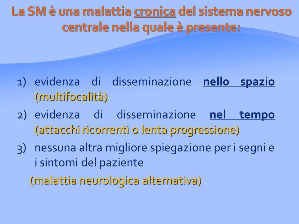 (multifocalità) 1)evidenza di disseminazione nello spazio (multifocalità) (attacchi ricorrenti o lenta progressione) 2)evidenza di disseminazione nel tempo (attacchi ricorrenti o lenta progressione) 3)nessuna altra migliore spiegazione per i segni e i sintomi del paziente (malattia neurologica alternativa)