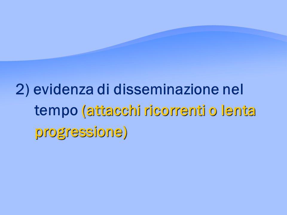 (attacchi ricorrenti o lenta progressione) 2) evidenza di disseminazione nel tempo (attacchi ricorrenti o lenta progressione)