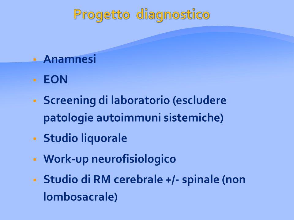  Anamnesi  EON  Screening di laboratorio (escludere patologie autoimmuni sistemiche)  Studio liquorale  Work-up neurofisiologico  Studio di RM cerebrale +/- spinale (non lombosacrale)