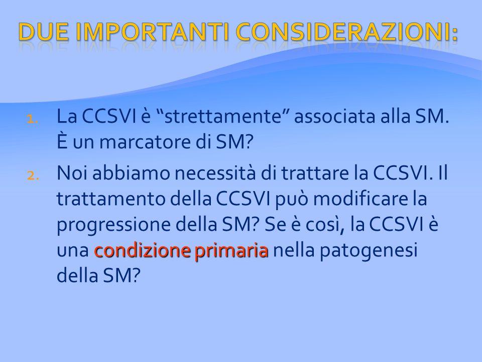 1. La CCSVI è strettamente associata alla SM. È un marcatore di SM.