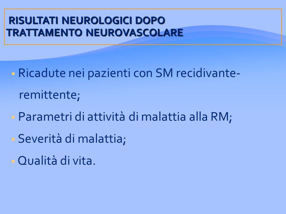  Ricadute nei pazienti con SM recidivante- remittente;  Parametri di attività di malattia alla RM;  Severità di malattia;  Qualità di vita.