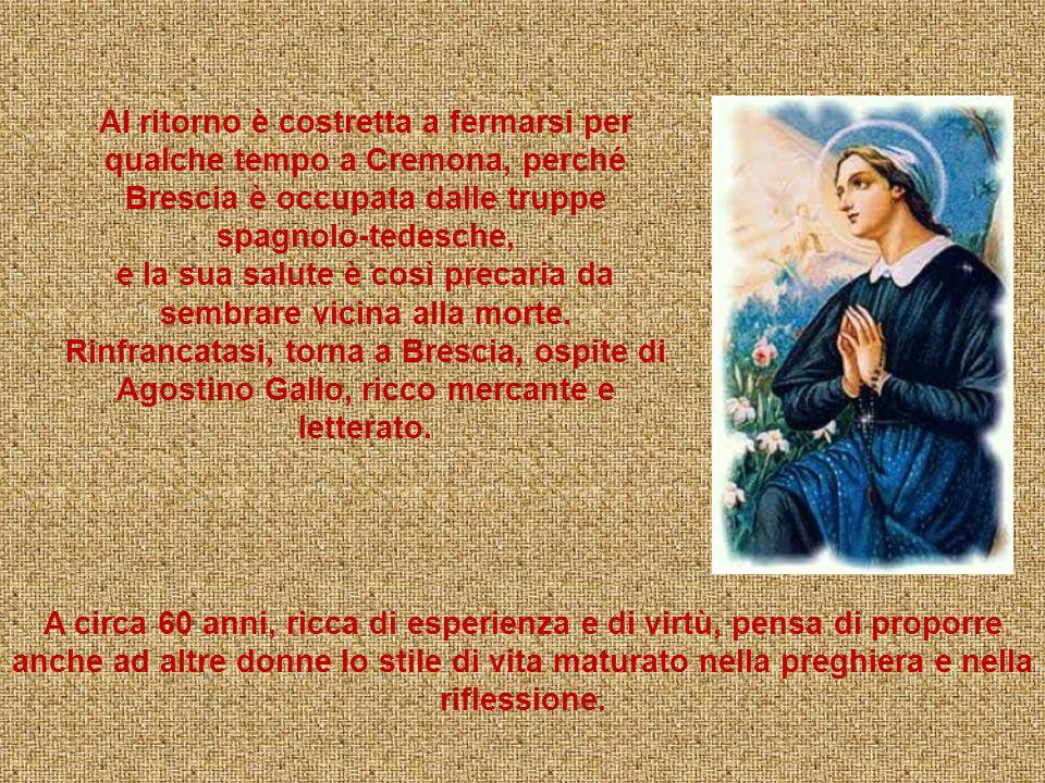 Nel 1920, Angela, si reca in pellegrinaggio a Mantova per pregare sulla tomba della Beata Terziaria Domenicana Osanna Andreasi. Nel 1524 va in pellegr