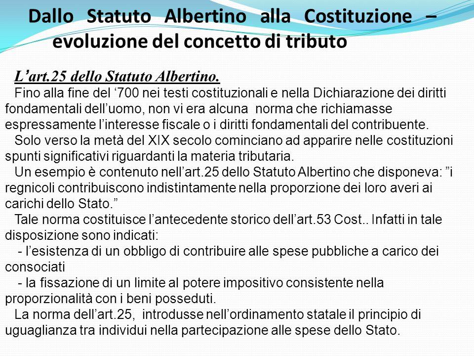 L ' art.25 dello Statuto Albertino. Fino alla fine del '700 nei testi costituzionali e nella Dichiarazione dei diritti fondamentali dell'uomo, non vi