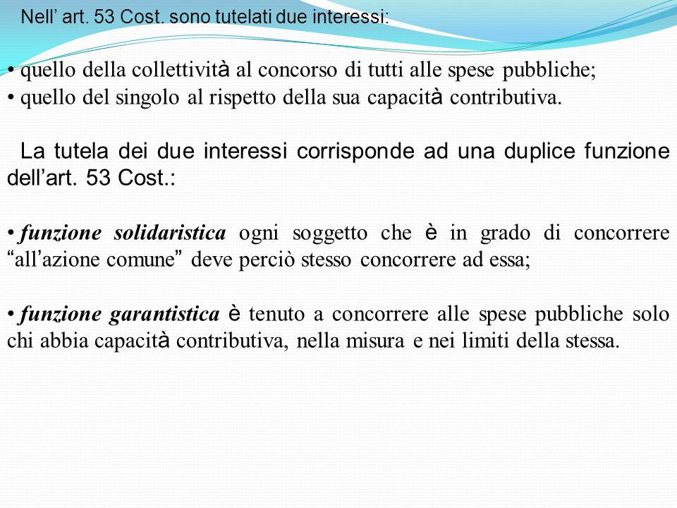 Nell' art. 53 Cost. sono tutelati due interessi: quello della collettivit à al concorso di tutti alle spese pubbliche; quello del singolo al rispetto