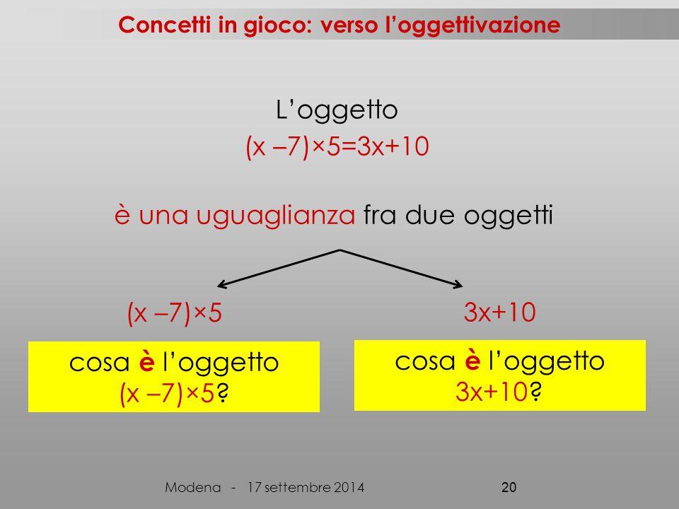 L'oggetto (x –7)×5=3x+10 è una uguaglianza fra due oggetti (x –7)×5 3x+10 cosa è l'oggetto (x –7)×5? cosa è l'oggetto 3x+10? Concetti in gioco: verso