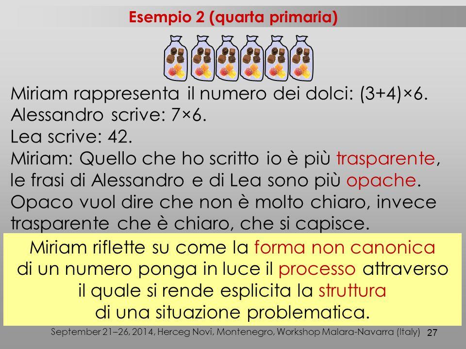 27 Miriam rappresenta il numero dei dolci: (3+4)×6. Alessandro scrive: 7×6. Lea scrive: 42. Miriam: Quello che ho scritto io è più trasparente, le fra