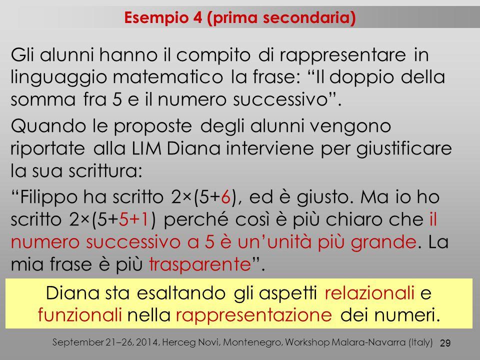 29 September 21–26, 2014, Herceg Novi, Montenegro, Workshop Malara-Navarra (Italy) Gli alunni hanno il compito di rappresentare in linguaggio matematico la frase: Il doppio della somma fra 5 e il numero successivo .
