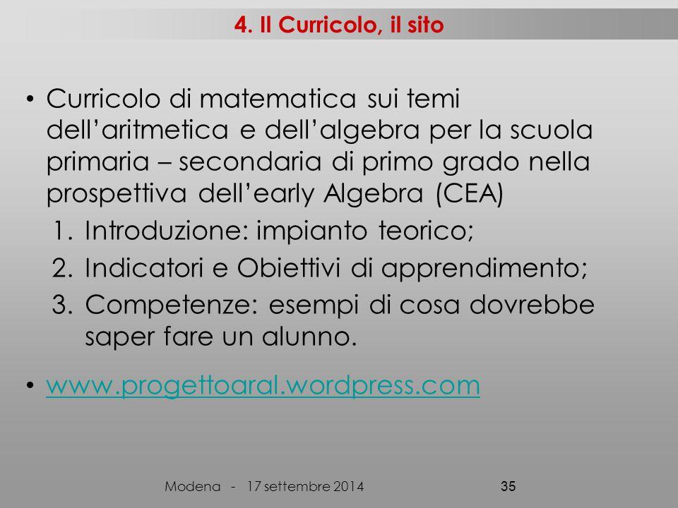 4. Il Curricolo, il sito Curricolo di matematica sui temi dell'aritmetica e dell'algebra per la scuola primaria – secondaria di primo grado nella pros