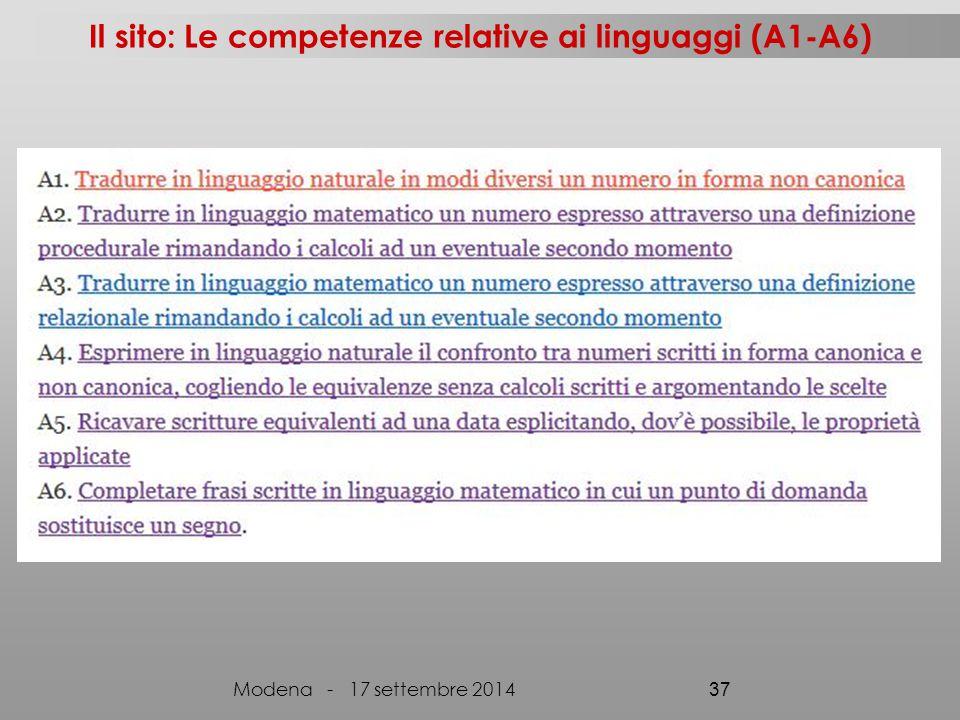 Il sito: Le competenze relative ai linguaggi (A1-A6) Modena - 17 settembre 2014 37