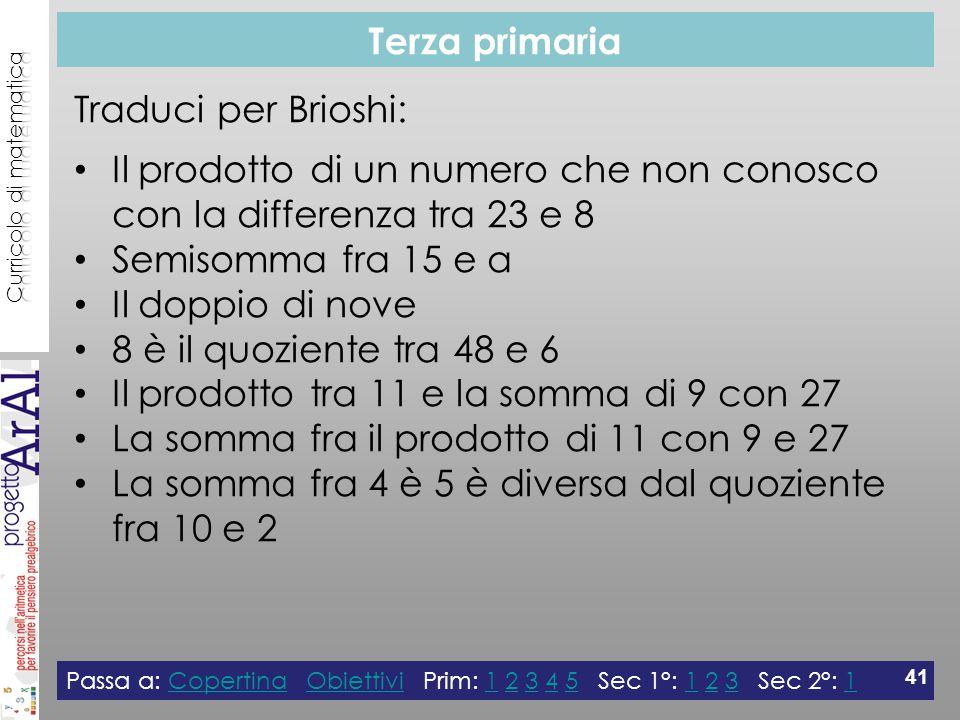 Terza primaria Passa a: Copertina Obiettivi Prim: 1 2 3 4 5 Sec 1°: 1 2 3 Sec 2°: 1CopertinaObiettivi123451231 41 Traduci per Brioshi: Il prodotto di un numero che non conosco con la differenza tra 23 e 8 Semisomma fra 15 e a Il doppio di nove 8 è il quoziente tra 48 e 6 Il prodotto tra 11 e la somma di 9 con 27 La somma fra il prodotto di 11 con 9 e 27 La somma fra 4 è 5 è diversa dal quoziente fra 10 e 2