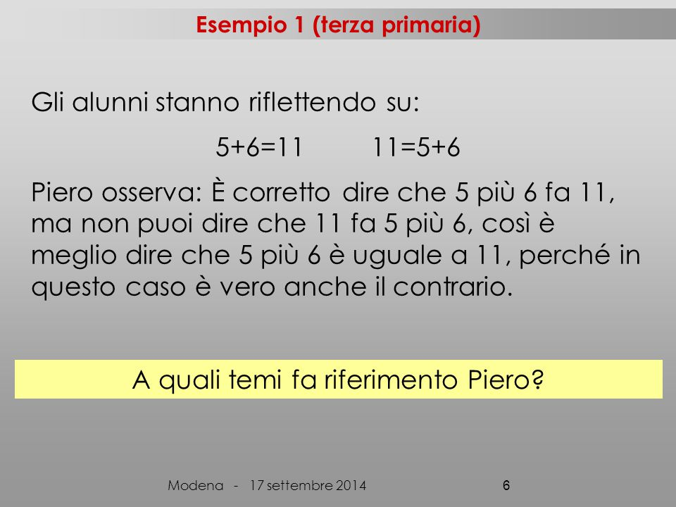 Gli alunni stanno riflettendo su: 5+6=11 11=5+6 Piero osserva: È corretto dire che 5 più 6 fa 11, ma non puoi dire che 11 fa 5 più 6, così è meglio di
