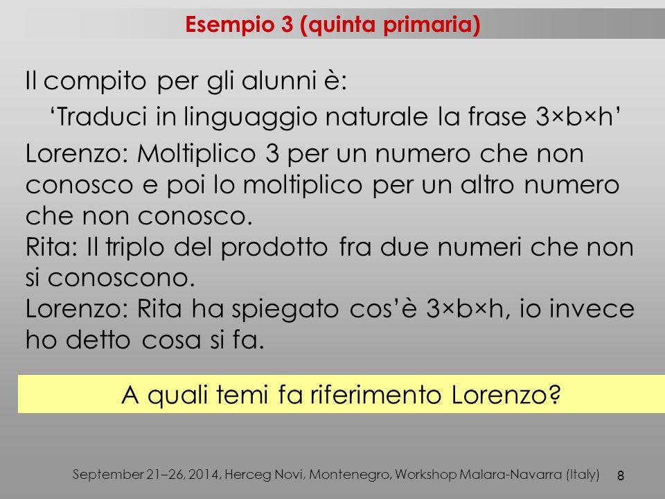 8 September 21–26, 2014, Herceg Novi, Montenegro, Workshop Malara-Navarra (Italy) Il compito per gli alunni è: 'Traduci in linguaggio naturale la frase 3×b×h' Lorenzo: Moltiplico 3 per un numero che non conosco e poi lo moltiplico per un altro numero che non conosco.
