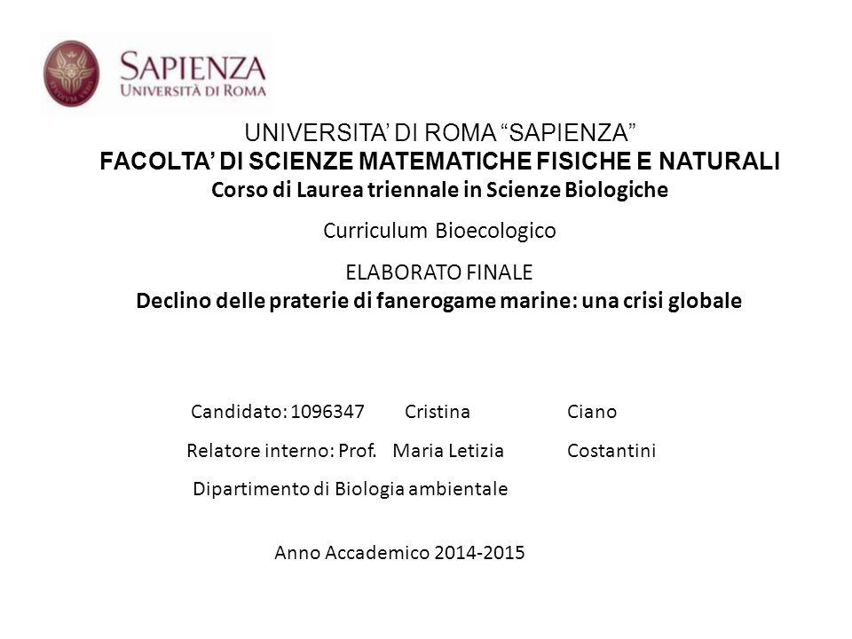 "UNIVERSITA' DI ROMA ""SAPIENZA"" FACOLTA' DI SCIENZE MATEMATICHE FISICHE E NATURALI Corso di Laurea triennale in Scienze Biologiche Curriculum Bioecolog"