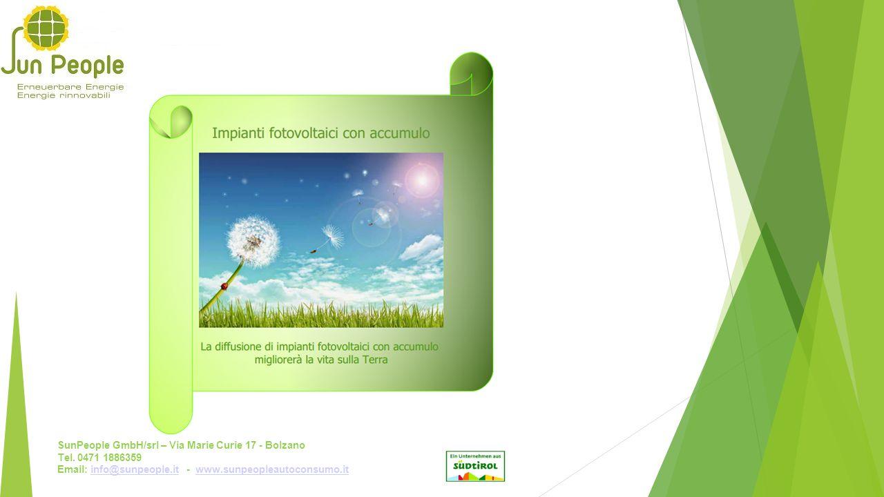SunPeople GmbH/srl – Via Marie Curie 17 - Bolzano Tel. 0471 1886359 Email: info@sunpeople.it - www.sunpeopleautoconsumo.itinfo@sunpeople.itwww.sunpeop