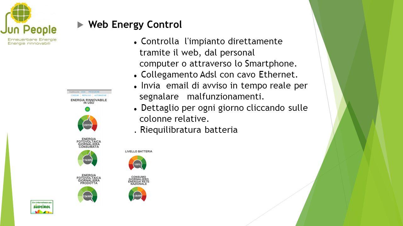  Web Energy Control Controlla l'impianto direttamente tramite il web, dal personal computer o attraverso lo Smartphone. Collegamento Adsl con cavo Et