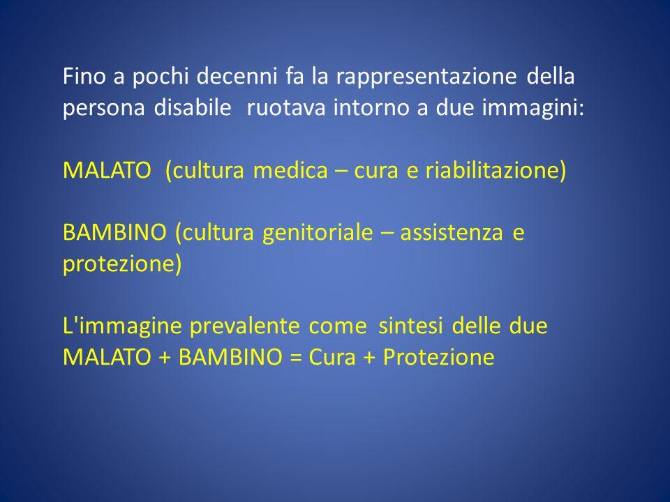 Fino a pochi decenni fa la rappresentazione della persona disabile ruotava intorno a due immagini: MALATO (cultura medica – cura e riabilitazione) BA