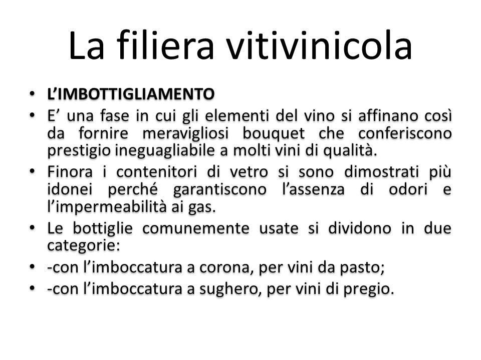 La filiera vitivinicola L'IMBOTTIGLIAMENTO E' una fase in cui gli elementi del vino si affinano così da fornire meravigliosi bouquet che conferiscono