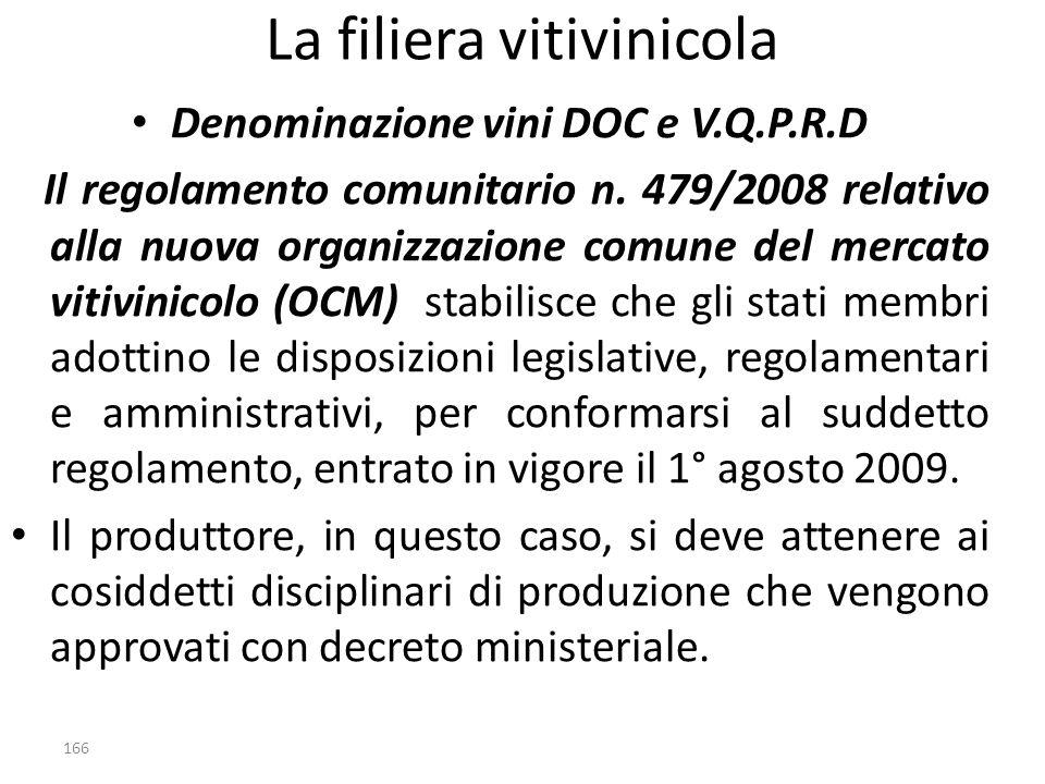 La filiera vitivinicola Denominazione vini DOC e V.Q.P.R.D Il regolamento comunitario n. 479/2008 relativo alla nuova organizzazione comune del mercat