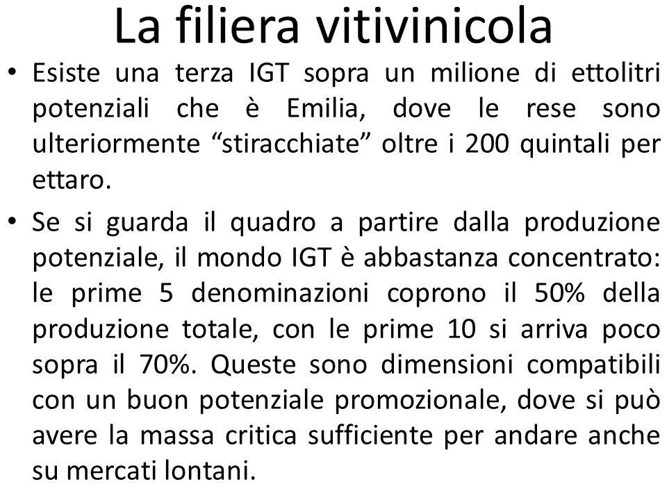 """La filiera vitivinicola Esiste una terza IGT sopra un milione di ettolitri potenziali che è Emilia, dove le rese sono ulteriormente """"stiracchiate"""" olt"""