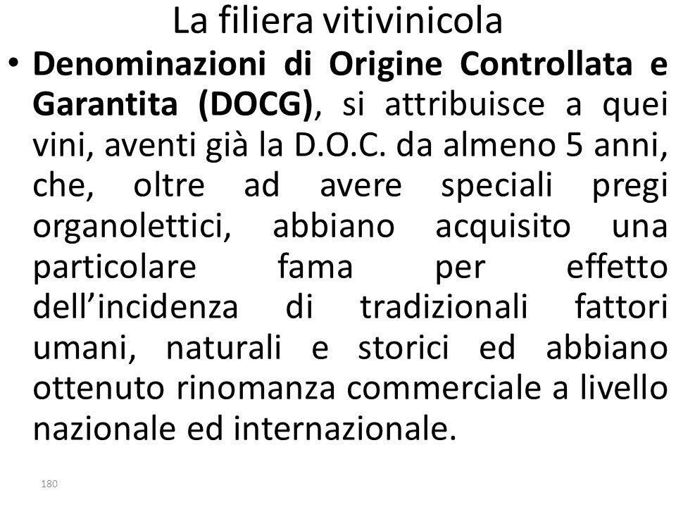 La filiera vitivinicola Denominazioni di Origine Controllata e Garantita (DOCG), si attribuisce a quei vini, aventi già la D.O.C. da almeno 5 anni, ch