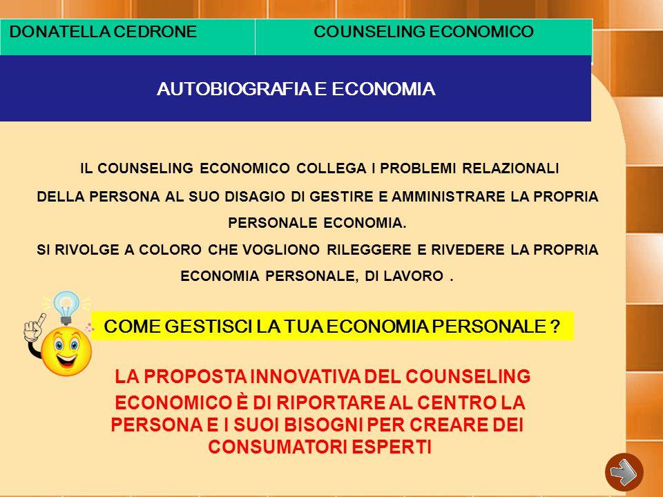 DONATELLA CEDRONECOUNSELING ECONOMICO AUTOBIOGRAFIA E ECONOMIA IL COUNSELING ECONOMICO COLLEGA I PROBLEMI RELAZIONALI DELLA PERSONA AL SUO DISAGIO DI GESTIRE E AMMINISTRARE LA PROPRIA PERSONALE ECONOMIA.