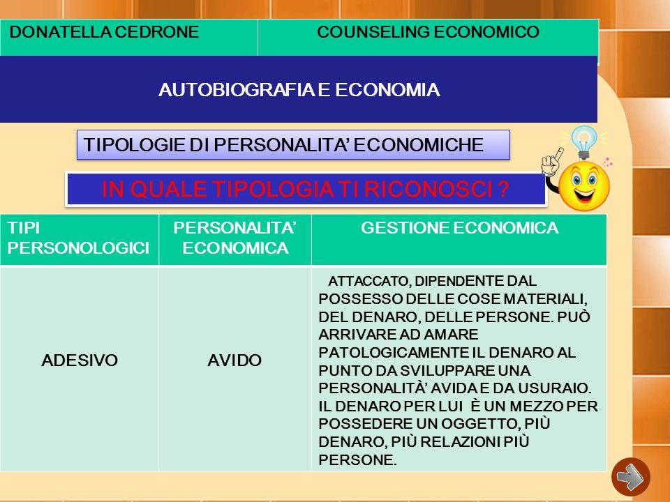 DONATELLA CEDRONECOUNSELING ECONOMICO AUTOBIOGRAFIA E ECONOMIA TIPOLOGIE DI PERSONALITA' ECONOMICHE IN QUALE TIPOLOGIA TI RICONOSCI .