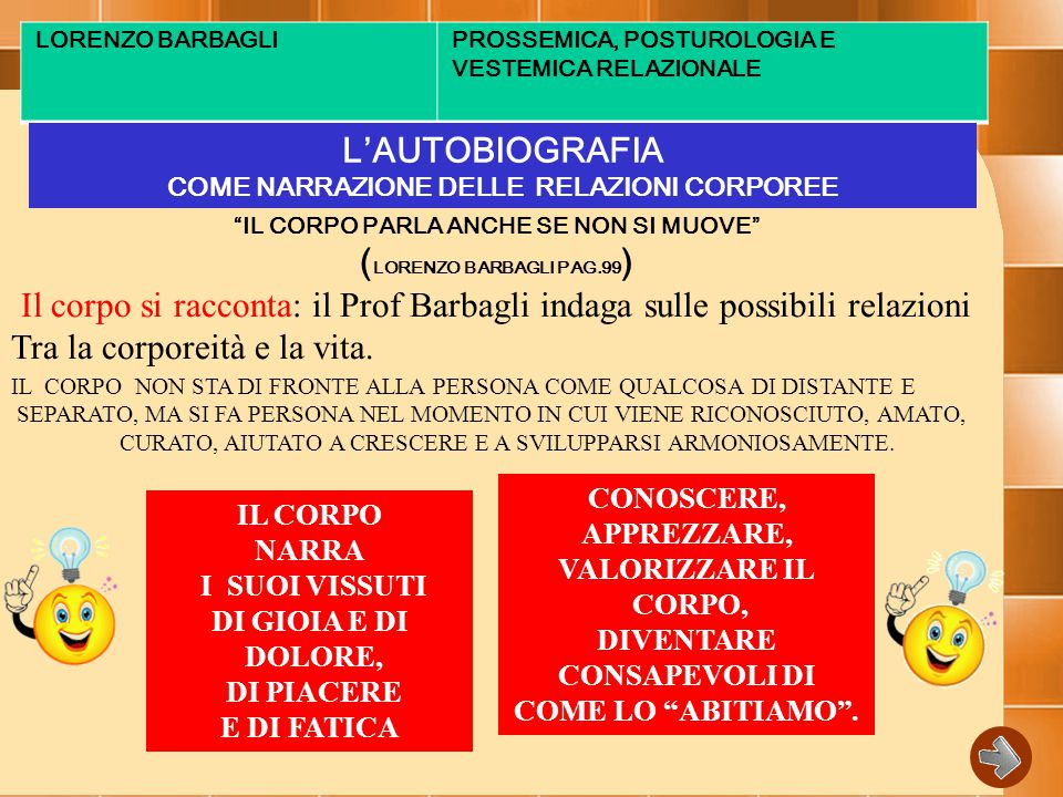 LORENZO BARBAGLIPROSSEMICA, POSTUROLOGIA E VESTEMICA RELAZIONALE L'AUTOBIOGRAFIA COME NARRAZIONE DELLE RELAZIONI CORPOREE IL CORPO PARLA ANCHE SE NON SI MUOVE ( LORENZO BARBAGLI PAG.99 ) Il corpo si racconta: il Prof Barbagli indaga sulle possibili relazioni Tra la corporeità e la vita.