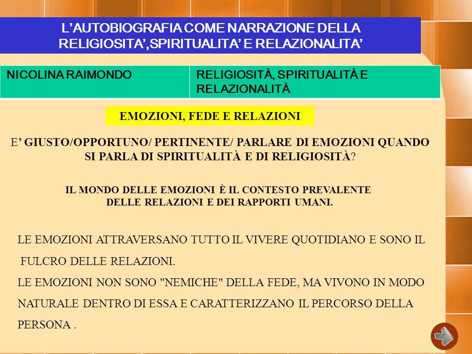 L'AUTOBIOGRAFIA COME NARRAZIONE DELLA RELIGIOSITA',SPIRITUALITA' E RELAZIONALITA' NICOLINA RAIMONDORELIGIOSITÀ, SPIRITUALITÀ E RELAZIONALITÀ EMOZIONI, FEDE E RELAZIONI E' GIUSTO/OPPORTUNO/ PERTINENTE/ PARLARE DI EMOZIONI QUANDO SI PARLA DI SPIRITUALITÀ E DI RELIGIOSITÀ.