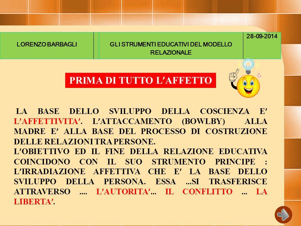 LORENZO BARBAGLIGLI STRUMENTI EDUCATIVI DEL MODELLO RELAZIONALE 28-09-2014 LA BASE DELLO SVILUPPO DELLA COSCIENZA E ' L ' AFFETTIVITA '.