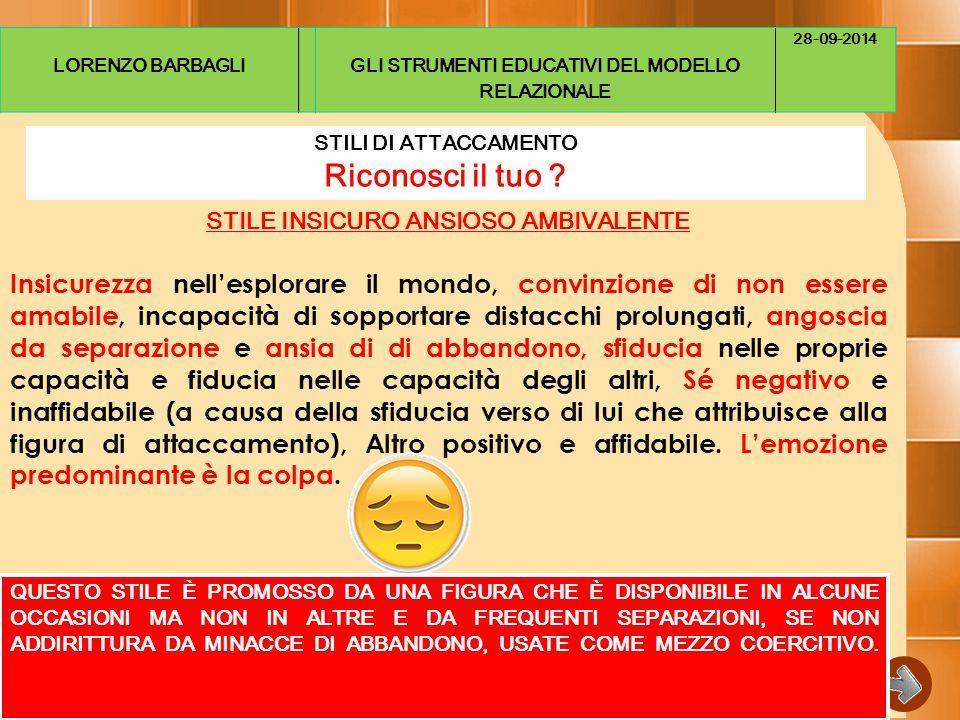 LORENZO BARBAGLIGLI STRUMENTI EDUCATIVI DEL MODELLO RELAZIONALE 28-09-2014 STILI DI ATTACCAMENTO Riconosci il tuo .