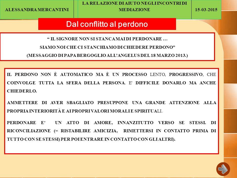 ALESSANDRA MERCANTINI LA RELAZIONE DI AIUTO NEGLI INCONTRI DI MEDIAZIONE15-03-2015 Dal conflitto al perdono IL SIGNORE NON SI STANCA MAI DI PERDONARE … SIAMO NOI CHE CI STANCHIAMO DI CHIEDERE PERDONO (MESSAGGIO DI PAPA BERGOGLIO ALL'ANGELUS DEL 18 MARZO 2013.) IL PERDONO NON È AUTOMATICO MA È UN PROCESSO LENTO, PROGRESSIVO, CHE COINVOLGE TUTTA LA SFERA DELLA PERSONA.