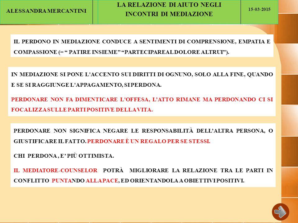 ALESSANDRA MERCANTINI LA RELAZIONE DI AIUTO NEGLI INCONTRI DI MEDIAZIONE 15-03-2015 IL PERDONO IN MEDIAZIONE CONDUCE A SENTIMENTI DI COMPRENSIONE, EMPATIA E COMPASSIONE (= PATIRE INSIEME PARTECIPAREAL DOLORE ALTRUI ).