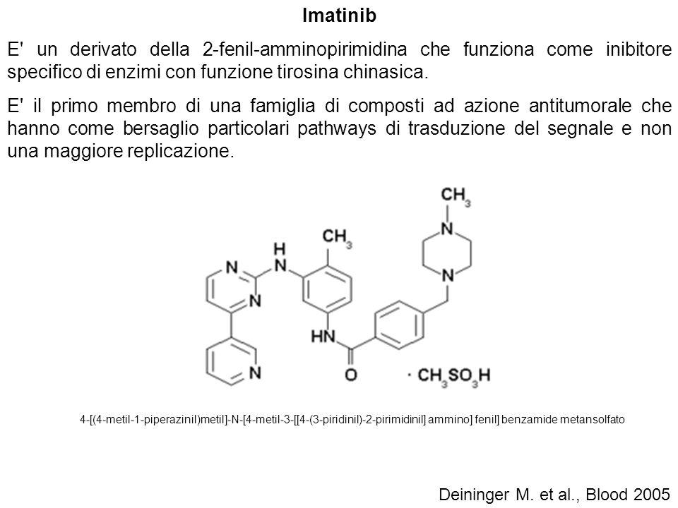Imatinib E' un derivato della 2-fenil-amminopirimidina che funziona come inibitore specifico di enzimi con funzione tirosina chinasica. E' il primo me