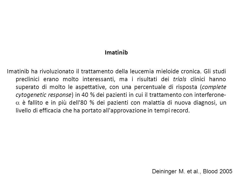 Imatinib Imatinib ha rivoluzionato il trattamento della leucemia mieloide cronica. Gli studi preclinici erano molto interessanti, ma i risultati dei t