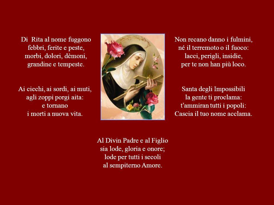 Rita nasce a Roccaporena (Cascia) nel 1381 da Antonio Lotti e Amata Ferri, veri pacieri di Cristo nelle lotte politiche e familiari tra guelfi e ghibellini.