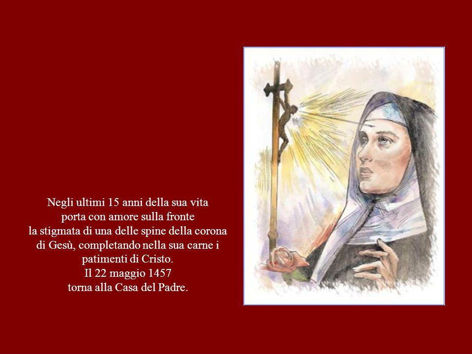 Negli ultimi 15 anni della sua vita porta con amore sulla fronte la stigmata di una delle spine della corona di Gesù, completando nella sua carne i pa