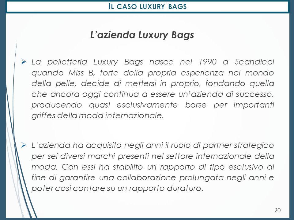 I L CASO LUXURY BAGS 20  La pelletteria Luxury Bags nasce nel 1990 a Scandicci quando Miss B, forte della propria esperienza nel mondo della pelle, d