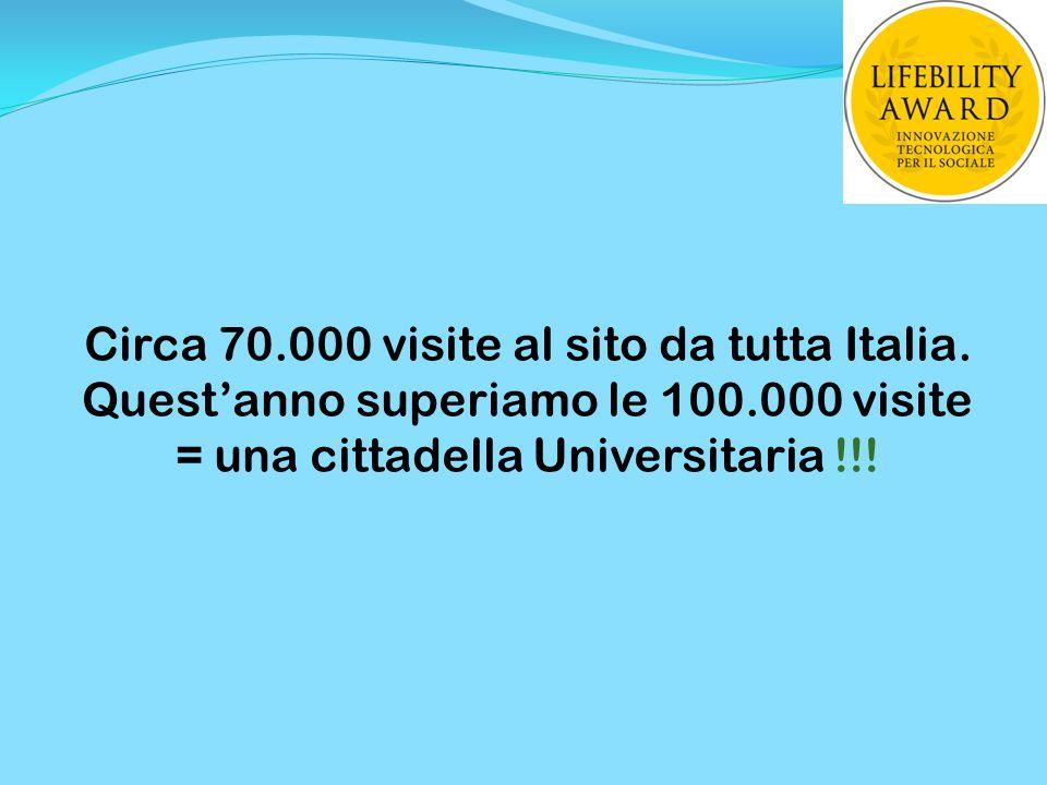 Circa 70.000 visite al sito da tutta Italia. Quest'anno superiamo le 100.000 visite = una cittadella Universitaria !!!