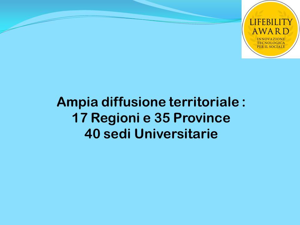 Ampia diffusione territoriale : 17 Regioni e 35 Province 40 sedi Universitarie