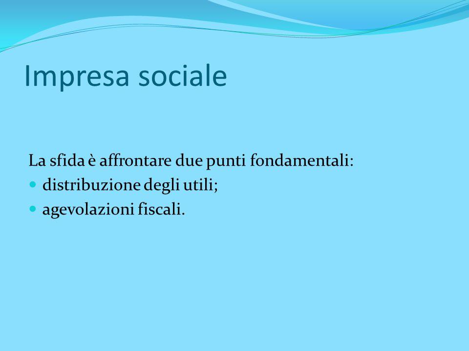 Impresa sociale Elencazione delle categorie che costituiscono impresa sociale.