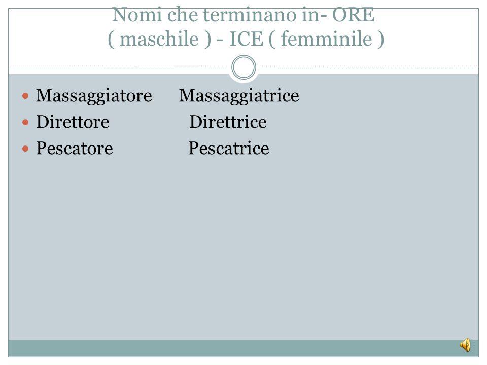 Nomi che terminano in- AIO ed in _ AIA Fornaio - Fornaia Operaio – Operaia Macellaio – Macellaia