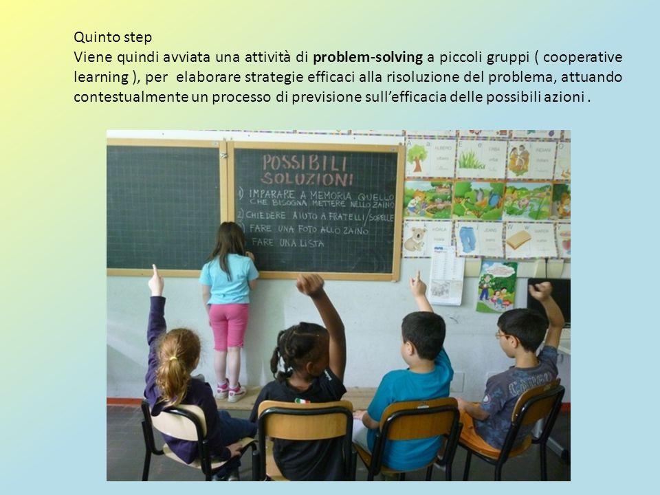Quinto step Viene quindi avviata una attività di problem-solving a piccoli gruppi ( cooperative learning ), per elaborare strategie efficaci alla riso